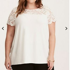 White Lace Inset Tee